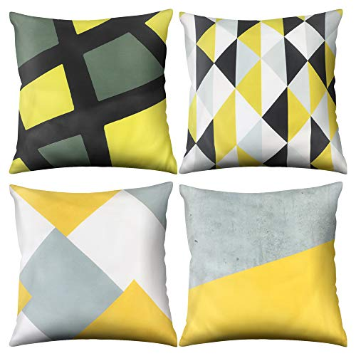Adisputent Cushion Cover 45cm x 45cm Geometric Colorful Decorative Throw Pillow Cover Soft Velvet Square Throw Pillow Case for Living Room Sofa Couch Bed Pillowcases, Set of 4, 13