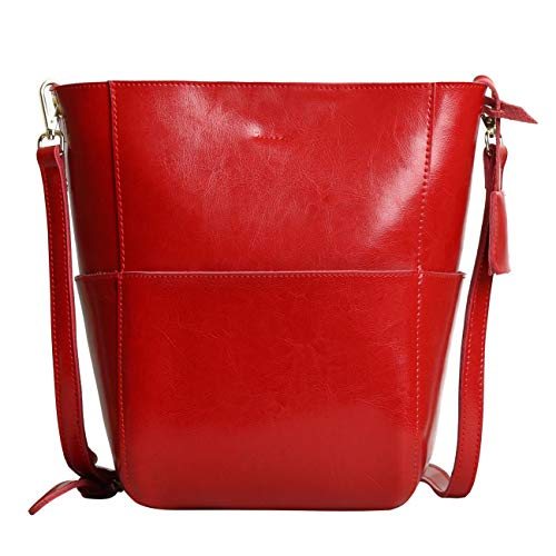 Bolso Bandolera De Piel Color Marrón Bolsa Mujer para Diario Bolsos De Tipo Shopping Piel para Señoras Bolsos De Hombro (Rojo-1)