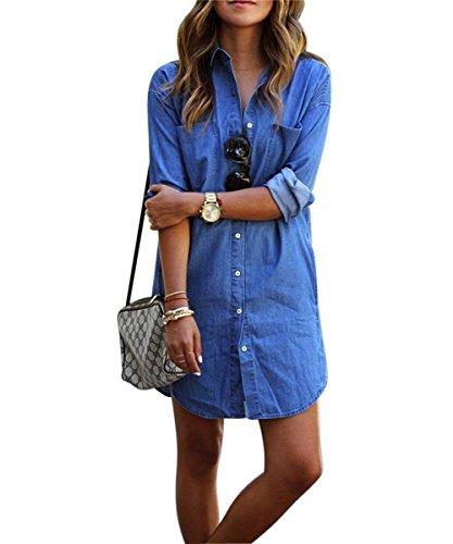 Denim kleid damen, Sondereu Minikleid jeans Jeanskleid damen Lässig Lose Kurz Hemdblusenkleid Tunika Jeansbluse (M)
