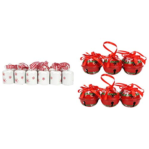 Sonline 12Pcs White Cylindrical Bell Christmas Snowflake Small Bell Tree Hanging & 12Pcs Reindeer Red Metal Jingle Bell