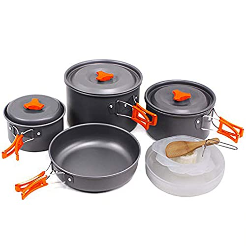 SKYSPER Utensilios Cocina Camping Set de Cocina Juego de Olla para Acampada 2-4 Persona Aluminio Kit de Utensilios de Cocina Ollas Sartén Acampar al Aire Libre para Camping Senderismo