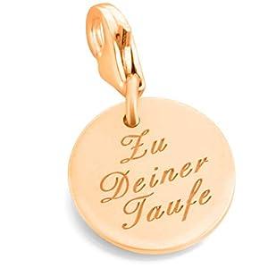 Charm Anhänger rose vergoldet mit Gravur zur Taufe oder Kommunion ❤️ Silberschmuck mit Namen Charm personalisierbar für…