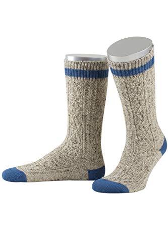 Lusana Herren Trachten-Schopper-Socke beige mit B& blau, 910-MITTELBEIGEMEL./M-BLAU, 42/43