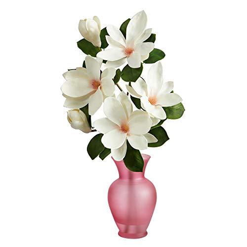 24in. Japanese Magnolia Artificial Arrangement in Rose Colored Vase Silk Flower Arrangements