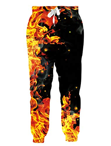 Loveternal Unisex 3D Jogger Training Pants for Men Comfy Lounge Funny Sport Sweatpants for Teen 80s Tall Gold Pants for Women S