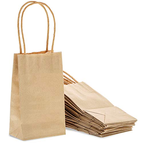 Kraft Gift Bags with Handles, Small Gift Bag (6.25 x 3.5 In, 50 Pack)
