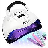 AYITOO Lámpara UV para secador de uñas 180 W, lámpara LED UV para uñas de gel, lámpara de uñas con 4 temporizadores, 57 UV lámpara secador de uñas, secador de uñas para los dedos de los pies 2 en 1
