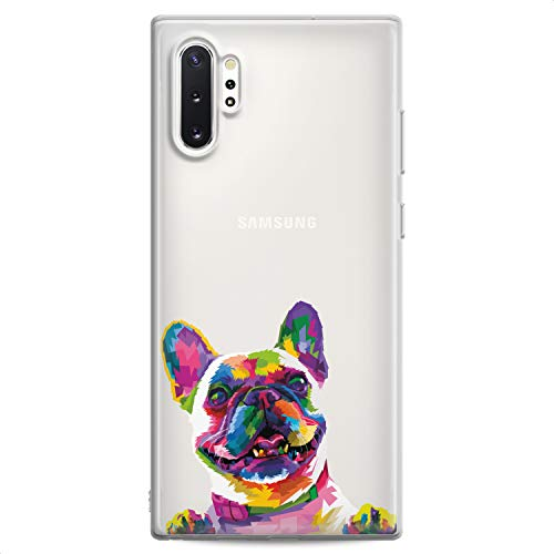 Cavka TPU Case Compatible with Samsung S21 FE Ultra S20 Plus S10 Note 20 5G S10e S9 Cute French Bulldog Flexible Silicone Print Colored Dog Design Slim fit Soft Cute Funny Animals Clear Girls Paws