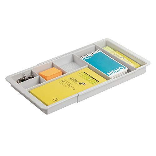 mDesign Schreibtisch Organizer – ausziehbare Schubladenbox mit 7 Fächern für Schreibwaren, Bastelzubehör etc. – BPA-freier Schubladen Organizer für Büro, Küche oder Bad – hellgrau