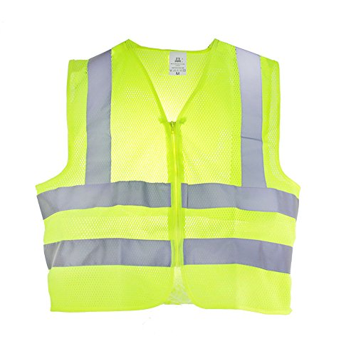 TR Industrial Neon Yellow Safety Vest, Front Zipper Mesh, OSHA Approved, Size Large