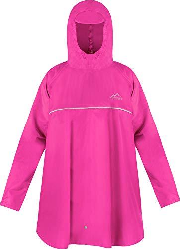 normani Kinder Regenponcho Regenjacke mit Ärmeln und Kapuze - 12.000 mm Wassersäule und 3M™ Scotchlite™ Reflektor - Regencape für Junge und Mädchen Farbe Rosa