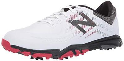 New Balance Men's Minimus Tour Waterproof Spiked Comfort Golf Shoe, White/red/Black, 11.5 D D US