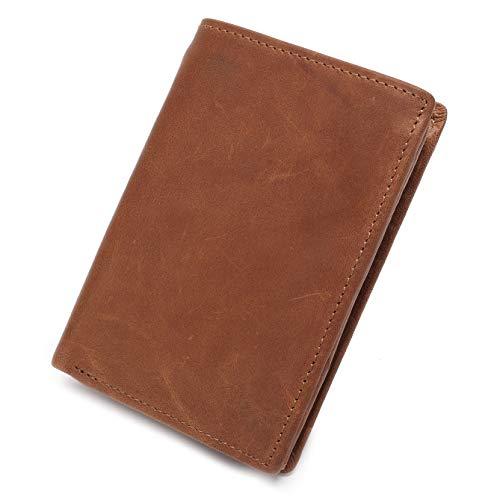 Portafoglio con blocco RFID in pelle per uomo Eono Essentials - Tasca per monete e porta carte di credito con tasca interna per cerniera, può contenere fino a 14 carte (marrone)