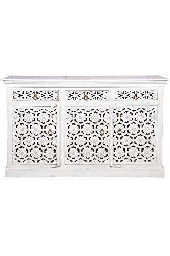 Cómoda oriental Hamada de 3 piezas, 150 cm, color gris y beige, estilo oriental, vintage, adornada a mano, estilo rústico indio, de madera, muebles asiáticos de la India