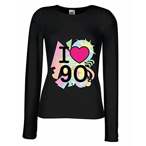 lepni.me Dames T-shirt Ik hou van de jaren 90! Vintage Style Band Retro Concert Party Shirt