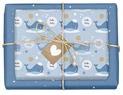 Geschenkpapier zur Geburt für Baby Jungen: 4x Einzelbögen (doppelseitig) + 4x Geschenkanhänger (It's a boy, blau, Wal)