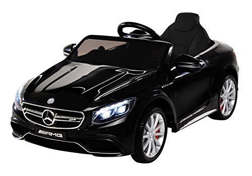 Kinder Elektroauto Mercedes Amg S63 - Lizenziert - 2 x 45 Watt Motor – Ledersitz - Sd-Karte – Usb - Mp3,- 12 Volt 10AH – Rc 2,4 Ghz Fernbedienung - Elektro Auto für Kinder ab 3 Jahre (schwarz)