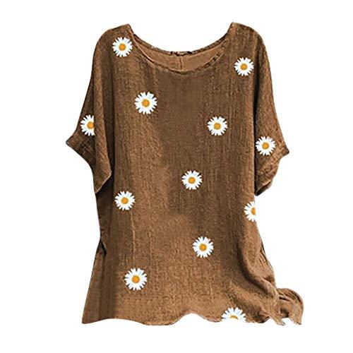 Andouy Damen Modisch Bedrucktes T-Shirt Lässige Lose O-Ausschnitt Kurzarm Tops Bluse Übergröße(2XL.Khaki-2)