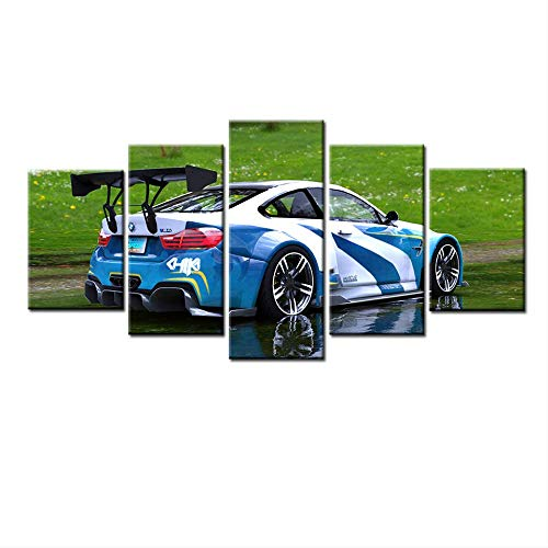 DGGDVP 5 Unidades HD Canvas Painting BMW Car Painting Home Canvas Wall Art For Living Room HD Print Wall Art Modern Decorative Size 1 Sin Marco