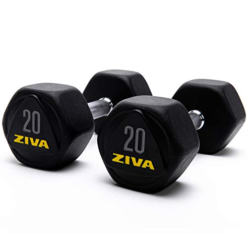 ZIVA Performance HEX Dumbbells – Solid Steel Core, Premium Urethane Rubber Encasing, Corrosion Resistant - Commercial Grade for Rigorous Exercise, Strength Training - Pair of Two Dumbbell, 20 lb.