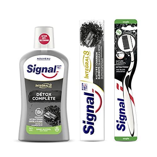 Signal Nature Elements Carbón Pasta de Dientes 2 Unidades + Cepillo de dientes + Enjuage bucal 730 g