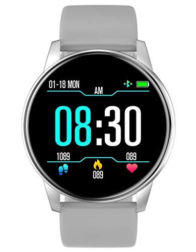 Sport Smartwatch Damen Herren Fitnessuhr Armbanduhr Frauen Blutdruck Pulsmesser Kalorienzähler Schrittzähler Wasserdicht Männer Fitness Uhr für IOS Android