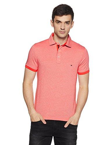 Tommy Hilfiger Men's Polo (8907504547814_S7AMK113_Medium_Hot Coral)