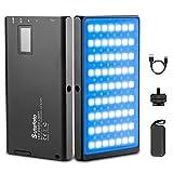 Led Video Light RGB Photography Light 1530°Full Color Bi-Color 2500K-8500K Mini Portable Pocket Panel Light with Aluminum Body Built-in 3300mAh Rechargeable Battery for YouTube DSLR Camera Lighting