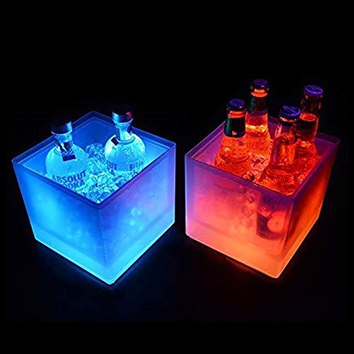 Barril de vino de madera LED Ice Bucket Hielo Luminoso, Enfriador LED. Cubo De Cerveza. Barril De Doble Capa Barra Cuadrada Cerveza Cubo De Hielo Champán Vino Bebidas Cubo De Cerveza for KTV Party Bar