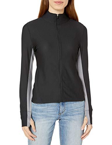 Calvin Klein Women's Premium Performance Long Sleeve Honeycomb Mesh Jacket, Black, Medium
