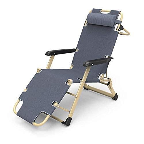 DERUKK-TY Tumbona Silla Zero Gravity para Viajes de Campamento al Aire Libre, tumbonas, sillones Plegables, para terrazas de jardín Interiores y Exteriores, Gris + Almohadilla de algodón Gruesa
