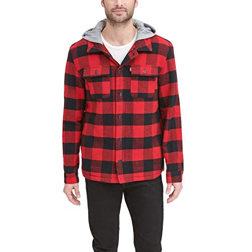 Levi's Men's Cotton Shirt Jacket with Soft Faux Fur Lining and Jersey Hood, Red Buffalo Check Plaid, Small