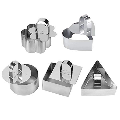 ZS ZHISHANG Stainless Steel Cake Molds Cookie 1/5pcs Biscuit Baking Mould with Pusher Lid for Mousse