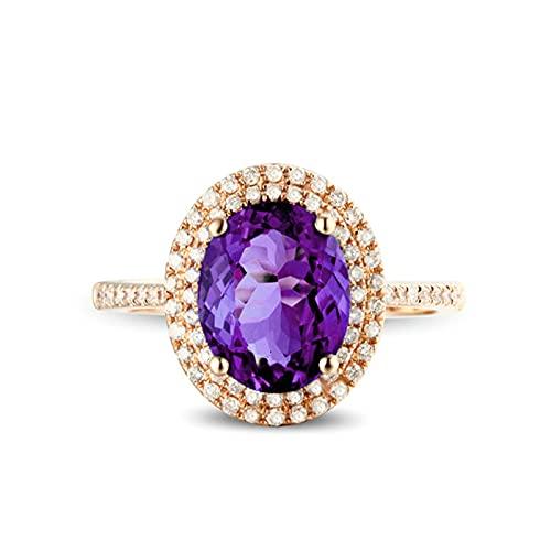 KnSam Anillo de mujer, anillo de compromiso con piedra de plata 925, ovalado, anillo de plata para mujer, anillo con circonita morada, anillo de plata azul, plateado, Cubic Zirconia,