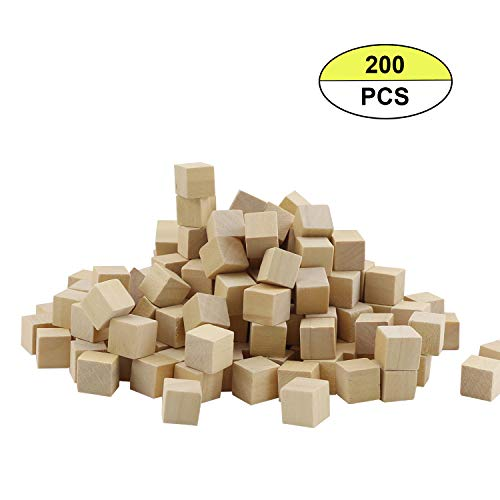 200PCS Fyess 1CM Wooden Cubes, Natural Unfinished Craft Wood Blocks, Baby Puzzle Making, Crafts, and DIY Projects