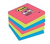 Post-it de Super Sticky Note 654SJ5 1 StickyNotes Promoción Bora Bora Collection, 76 x 76 mm, a 6 cuadras, 90 hojas, amapola roja / de neón verde / azul de ultra