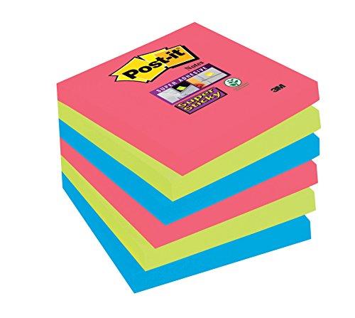 Post-it Super Sticky Notes Bora Bora Collection 654-SSJP-P5+1-EU – zelfklevende notitieblaadjes in 76 x 76 mm – 6 blokken vierkant à 90 vellen in 3 kleuren, ultra geel, blauw, roze