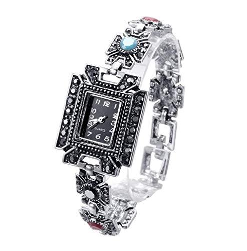 IJONDA - Reloj para mujer, estilo retro, diseño de flores, chapado en plata