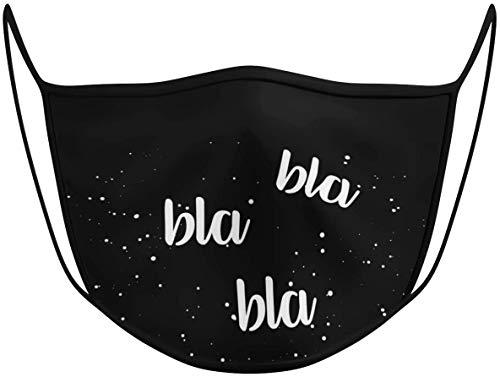 Dilara Maske mit Motiv Bla Bla Bla in Schwarz aus Baumwolle - Masken mit Aufdruck Stoffmaske Gesicht mit Aufdruck lustig, lachen, Humor (BlaBlaBla)