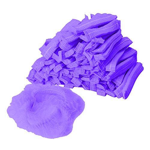F Fityle 100pcs Baretthauben Einweghauben Klipphauben Vlieshaube Einweg Kopfhauben Hygienehauben Kosmetikhauben aus Vlies - Lila