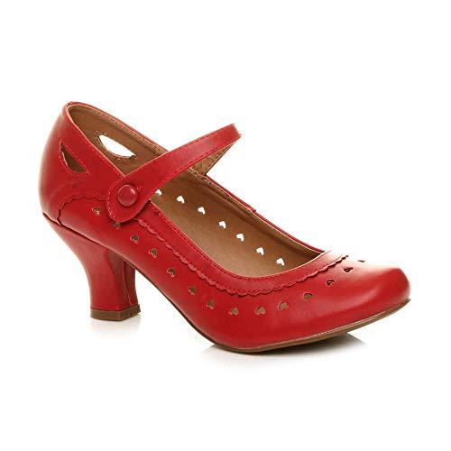 Damen Herzmuster Mary Jane Mittlerer Absatz Feinmachen Pumps Schuhe Größe 40 7