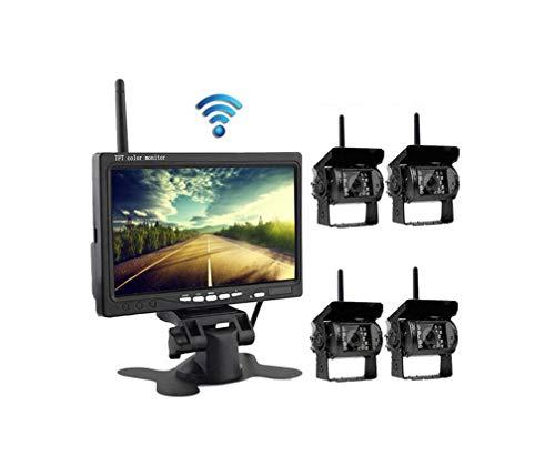 L-CAM Truck Wireless-Überwachungskamera und Monitor-Kit, 7-Zoll-Dual-Split-Bildschirm mit 2,4 G-Wireless-Digitalsignal-Entstörung
