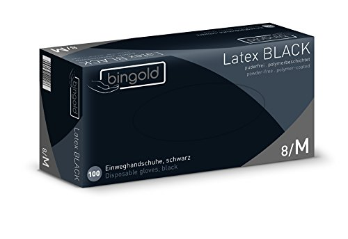Bingold 619002 Latex Black Einmal Handschuhe, Puderfrei, Größe M, 100 Stück
