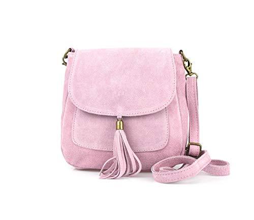 Made in Italy Damen Leder Tasche Messenger Bag Henkeltasche Wildleder Handtasche Umhängetasche Ledertasche Schultertasche Beuteltasche Fransen Cross-Over Rosa