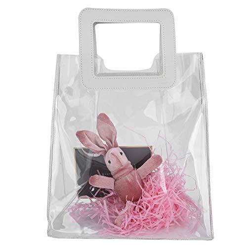 Bolso transparente, bolso de mano de PVC Bolso de mano transparente aprobado por el estadio Bolso de cosméticos impermeable Bolso de maquillaje para niñas Bolso de regalo transparente(Rosa)