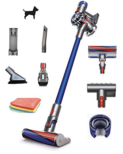 Flagship Dyson V7 Fluffy HEPA Cordless Stick Vacuum Cleaner: Lightweight, Powerful, Bagless Ergonomic, Telescopic Handle, Rechargeable Battery, Height Adjustable, Blue + Marxsol One Microfiber Cloth