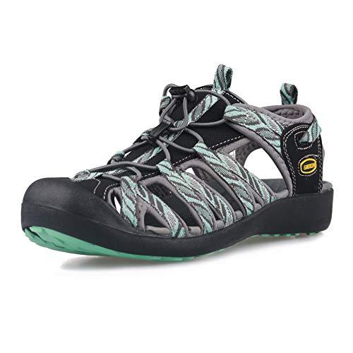 GRITION Damskie sandały sportowe na wędrówki, zamknięte palce, buty wodne, na przygody, na świeżym powietrzu, na lato, wiele okazji, niebieski - niebieski - 39 eu