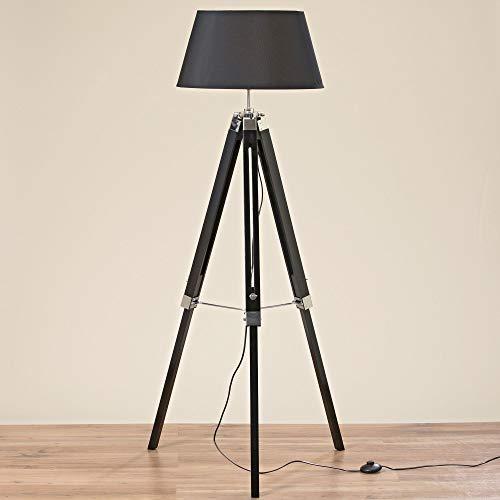 DAFLOXX Stativlampe 147cm Schwarz Schirm Holz Stativ Stehlampe Lampe Teleskop Teleskoplampe Tripod
