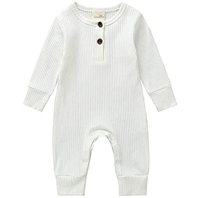 Kuriozud Newborn Infant Unisex Baby Boy Girl Sleeveless Button Solid Knitted Romper Bodysuit One Piece Jumpsuit Summer Outfits Clothes (Long Sleeve one Piece White, 0-3 Months)