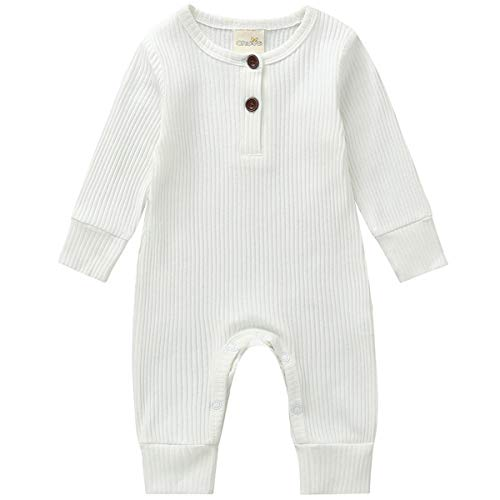 Kuriozud Newborn Infant Unisex Baby Boy Girl Sleeveless Button Solid Knitted Romper Bodysuit One Piece Jumpsuit Summer Outfits Clothes Long Sleeve one Piece White 1218 Months